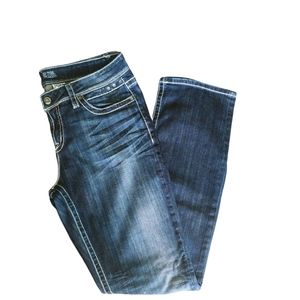 Warehouse One, Denim Dark Wash, Mid Rise, Relaxed Straight Leg, 34 Long